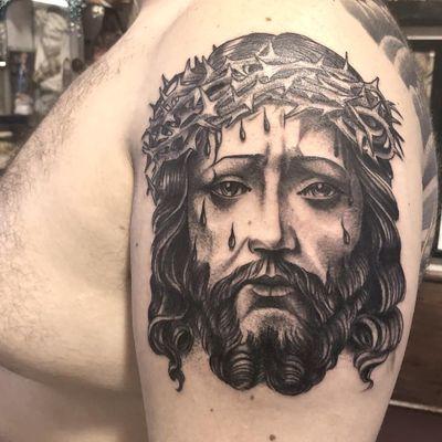 Tattoo by Freddy Corbin #FreddyCorbin #religioustattoo #Christian #Catholic #religious #Jesus #JesusChrist #crownofthorns #blackandgrey #realism #realistic #portrait #blood #tears #love