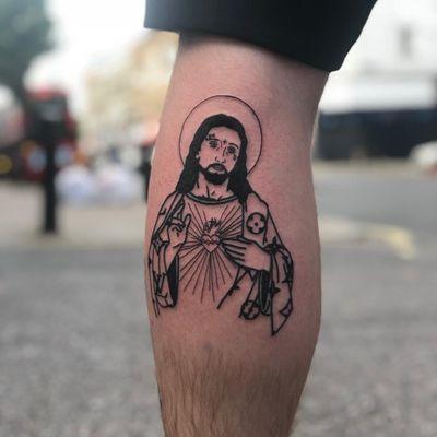 Tattoo by Traphousetattooer #Traphousetattooer #religioustattoo #Christian #Catholic #religious #jesus #jesuschrist #portrait #sacredheart #thorns #tear #linework #illustrative #newschool #gangster