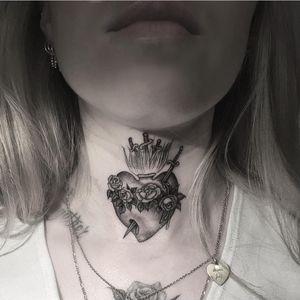 Tattoo by Em Scott #EmScott #religioustattoo #Christian #Catholic #religious #sacredheart #fineline #singleneedle #heart #rose #flower #floral #blood #sword #fire #blackandgrey #illustrative