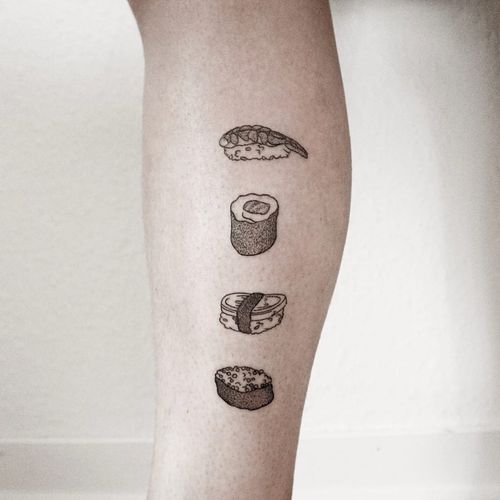 Tattoo by Ann Gilber #AnnGilber #sushitattoo #sushi #foodtattoo #food #Japanese #illustrative #fish #handpoke #stickandpoke #blackwork #dotwork