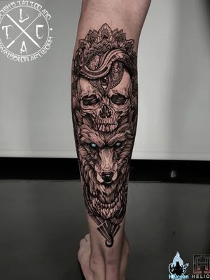 Skull and wolf mandala/geo blackwork calf piece on miss Georgina @__gcoplick__ Insta: @leigh_tattoos Fb: leighstca For all bookings an enquiries contact me directly at my Fb page: leighstca Sponsored by: @heliostattoo @h2oceanloyalty . . . #goldcoast #tattoo #tattoos #tat #inspirationtattoo #tattooist #tattooartist #tattooart #ink #inked #tattooedgirls #tattooedguys #inkgeeks #follow #followme #bestoftheday #greywash #superbtattoos #heliostattoo #sullenclothing #radtattoos #blxckink #Loyalty4Life #H2Ocean #tattooistartmagazine #wolftattoo #calftattoo #blackwork #mandalatattoo