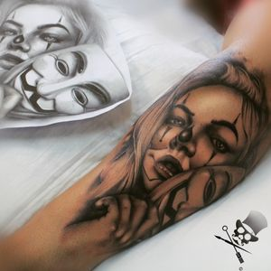 """Tattooed this Chicano tattoo yesterday. Chicano tattoos represent loyalty to the community, to family and God. Clown Face/mask tattoos are also commonly known for having the meaning """"Laugh now, cry later"""". Or so I read. Artwork Artist: Ruan Coetzee Tattoo Artist: Ruan Coetzee #tattoo #tattooist #tattooer #tattoos #tattooartist #truthbetold #tattoostudio #menwithtattoos #clown #clownface #girlfacetattoo #anonymous #vforvendetta #blackandgreytattoo #johannesburg #tattooart #art"""