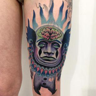 Tattoo by Giena Todryk #GienaTodryk #Taktoboli #color #surreal #newschool #psychadelic #strange #clown #brain #heart #heartbreak #sadclown #fire #weird