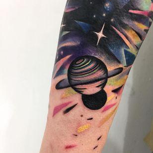 Tattoo by Giena Todryk #GienaTodryk #Taktoboli #color #surreal #newschool #psychadelic #strange #space #solarsystem #stars #abstract #shapes #saturn #planets