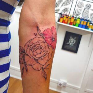 #peony #rose #hibiscus #hibiscustattoo #flower #flowers