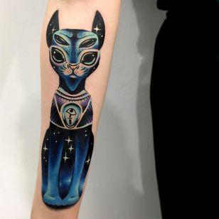 Tattoo by Giena Todryk #GienaTodryk #Taktoboli #color #surreal #newschool #psychadelic #strange #cat #kitty #sphinx #stars #galaxy #solarsystem #space #eye #eyeball #thirdeye