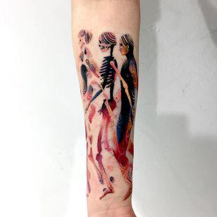 Tattoo by Giena Todryk #GienaTodryk #Taktoboli #color #surreal #newschool #psychadelic #strange #lifecycle #human #skeleton #death #life