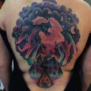 Tattoo by Giena Todryk #GienaTodryk #Taktoboli #color #surreal #newschool #psychadelic #strange #solarsystem #moon #galaxy #space #animal #spiritanimal #smoke #mountains #forest #fire #campfire