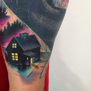Tattoo by Giena Todryk #GienaTodryk #Taktoboli #color #surreal #newschool #psychadelic #strange #house #forest #home #light #abstract #trees