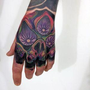 Tattoo by Giena Todryk #GienaTodryk #Taktoboli #color #surreal #newschool #psychadelic #strange #handtattoo #skull #thirdeye #eye #death