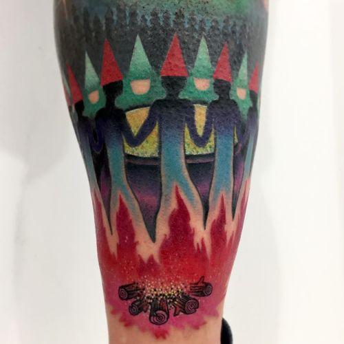 Tattoo by Giena Todryk #GienaTodryk #Taktoboli #color #surreal #newschool #psychadelic #strange #dwarf #elves #elf #fire #campfire #brew #witches #pot