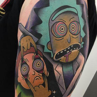 Tattoo by Giena Todryk #GienaTodryk #Taktoboli #color #surreal #newschool #psychadelic #strange #rickandmorty #tvshow #adultswim #stars #ricksanchez #MortySmith #morty #scifi