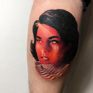 Tattoo by Giena Todryk #GienaTodryk #Taktoboli #color #surreal #newschool #psychadelic #strange #TwinPeaks #tvshow #ladyhead #lady #portrait #pattern #darkart #horror #fantasy