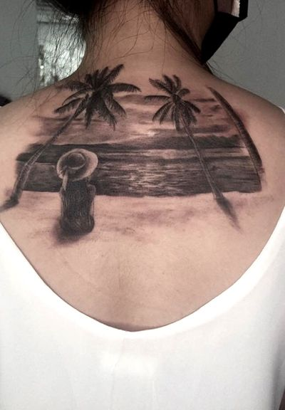 #tattoo #tattoos #ink #realism #realismtattoo #blackwork #blackandwhite #sea #beach #girl #back #sunset #🏝 #與海 #刺青 #寫實 #寫實刺青 #女孩 #背影