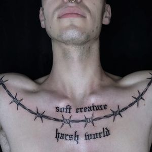 Tattoo by Tine DeFiore #TineDeFiore #barbedwire #blackwork #linework #metal #wire #text #quote #oldschool #oldenglish #soft #brutal #life #font #lettering
