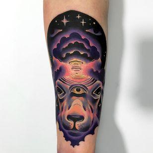Tattoo by Giena Todryk #GienaTodryk #Taktoboli #color #surreal #newschool #psychadelic #strange #goat #animal #thirdeye #cloud #sky #eyes #space #stars #solarsystem