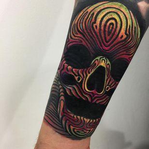Tattoo by Giena Todryk #GienaTodryk #Taktoboli #color #surreal #newschool #psychadelic #strange #skull #death #pattern