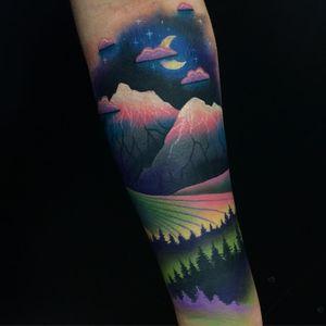 Tattoo by Giena Todryk #GienaTodryk #Taktoboli #color #surreal #newschool #psychadelic #strange #forest #landscape #trees #mountains #sky #moon #clouds #stars