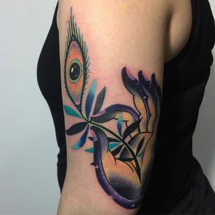 Tattoo by Giena Todryk #GienaTodryk #Taktoboli #color #surreal #newschool #psychadelic #strange #Buddha #mudra #eye #thirdeye #plant #leaves #nature #stars #solarsystem #space
