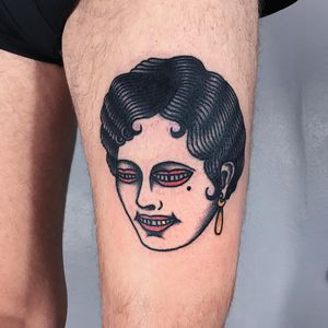 Tattoo by Berly Boy #BerlyBoy #traditional #traditionaltattoo #color #oldschool #AmericanTraditional #lady #ladyhead #surreal #strainge #mouth #goldtooth