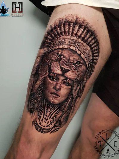Lion headdress warrior  Insta: @leigh_tattoos Fb: leighstca For all bookings an enquiries contact me directly at my Fb page: leighstca @heliostattoo - 10% off discount code: Leigh10 @h2oceanloyalty . . . #goldcoast #tattoo #tattoos #tat #inspirationtattoo #tattooist #tattooartist #tattooart #ink #inked #tattooedgirls #tattooedguys #inkgeeks #follow #followme #bestoftheday #greywash #superbtattoos #heliostattoo #sullenclothing #radtattoos #blxckink #Loyalty4Life #H2Ocean #tattooistartmagazine #liontattoo #headdress #thightattoo