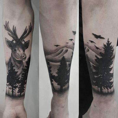 Stag #stag #forest #nature #mountains #trees #deer #blackwork #blackandgrey #dotwork