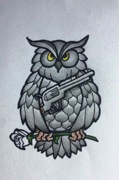 The first tattoo drawing I've ever done #almostfinished #owltattoo #owltattoos #owl #gun #pistol #rose #gunsandroses #drawing #tattoodrawing #arminassulskis