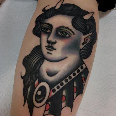 Tattoo by Vasiliy Stadler #VasiliyStadler #besttattoos #color #traditional #monster #vampire #creature #darkart #portrait #ladyhead #preciousstone #gem #jewel #lady #horns
