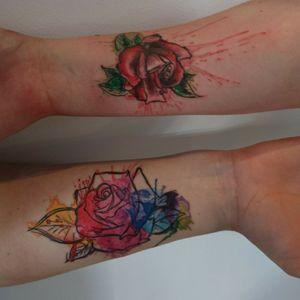 #tattoo #watercolor #rose #watercolorrose #sketch #sketchstyle #rainbow #freshlyinked #munich #fineline