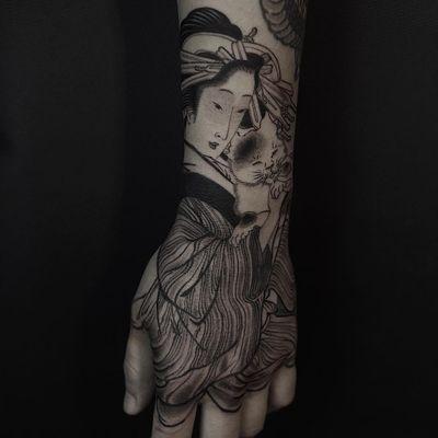 Tattoo by Haku Tattoo #HakuTattoo #besttattoos #illustrative #linework #Japanese #geisha #cat #kitty #ukiyoe #lady #portrait #petportrait