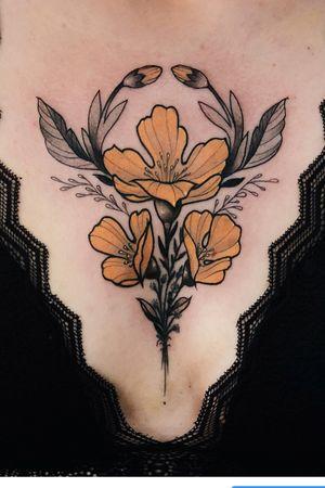 Freehand chest flower 🌼 #freehand #chestpiece #flowertattoo