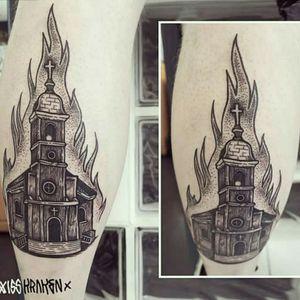 #church #dot #gravure #fire #blackandgray
