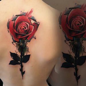 °Rose aquarelle°  #colortattoo #aquarelletattoo #aquarellerose #rosetattoo #colorrosetattoo #backtattoo #xionpen #kwadronneedless #tattooed #tattoolovers #tattoogermany #heilbronn #lakimii #ftpbeograd #ftpstreetwear #tetoviranjebeograd #tetovaze #serbia