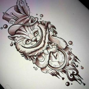 #sketch #cheshirecattattoo #meltingandbrokenclock