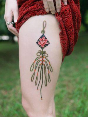 Norigae (Korean traditional ornaments ) by SION (@tattooistsion) #flowertattoo #floraltattoo #Korea #KoreanArtist #tattooistsion #colortattoo #flower #flowers #oriental #norigaetattoo #peonytattoo