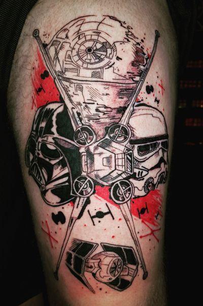 Trash polka star wars flash tattoo from today been waiting to do this one for years :-)#inked #inkstagram #amazingink #instatattoo #armtattoo #tattooartist #tattooed #legtattoo #tattedup #tatted #inkedup #tattoos #tattoist #tattooart #inkedgirls #ink #inkedlife #tattoolife #inkwell #tattoo #inklife #inkaddict #fkirons #eternalink #tattoopen #tattoomafia #trashpolka #starwars #maythe4thbewithyou #darthvader