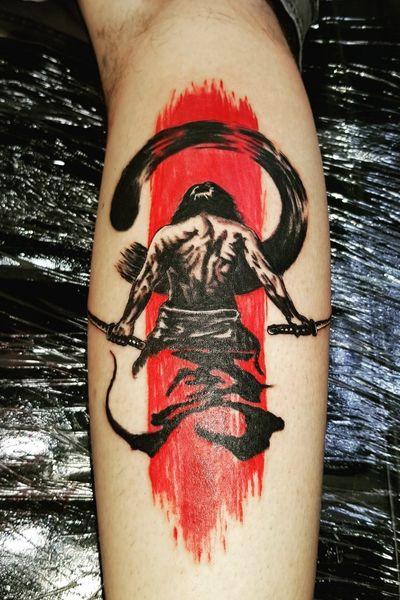 Samurai trash polka tattoo from today. #tattoo #tattoos #tats #legtattoo #tattooartist #kurosumi #dragonflytattoo #samurai #trashpolka #blacktatt #blackandgrey #blackandred #kanji #fkirons #tattooideas #linework #japanese #japanesetattoo #samuraitattoo #pictures #picoftheday #instaart #instashare #instagood #instagram