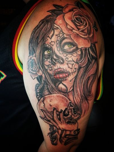 Final session of day of day of the dead girl #inked #instatattoo #tattooartist #tattooed #legtattoo #tattedup #tatted #inkedup #tattoos #tattooist #tattooart #ink #inkedlife #inkwell #tattoo #inkaddict #fkirons #eternalink #tattoopen #tattoomafia #diadelosmuertos #halfsleeve #blacktattoo #dayofthedead #dayofthedeadgirl #candyskull #armtattoo #skulltattoo