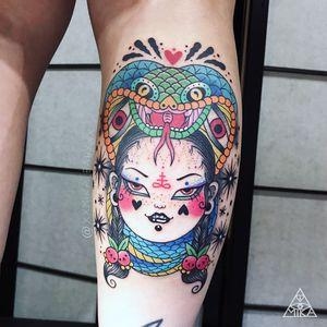 Tattoo by Mika Baby #MikaBaby #ladyheadtattoo #ladyhead #portrait #lady #cherry #snake #cobra #serpent #reptile #darkart #stars #heart #symbol #newschool