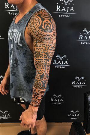 Maori, polynesian tattoo sleeve done ✅
