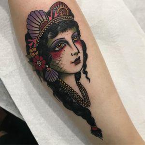Tattoo by Brit Bauzá #BritBauza #ladyheadtattoo #ladyhead #portrait #lady #mermaid #seashell #shells #pearls #flowers #floral #nature #ocean