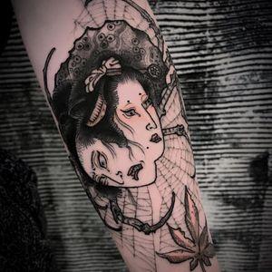 Tattoo by Ganji #Ganji #ladyheadtattoo #ladyhead #portrait #lady #yokai #monster #mapleleaf #spider #spiderweb #creature #geisha