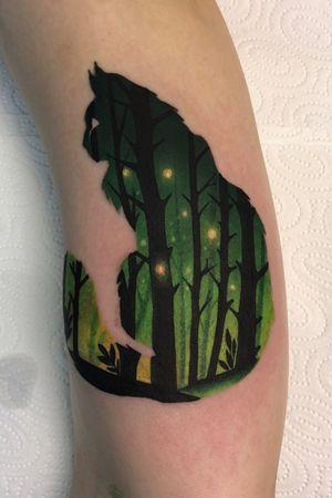 forest cat from #Wrocław 🖤 #tattoo #tattooart #colortattoo #wroclawtattoo #bydgoszcztattoo #warsawtattoo #doubleexposuretattoo #foresttattoo