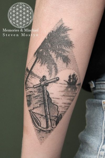 Dotwork battered anchor and galleon landscape! Designed and tattooed by Mister Mostyn. #dotworktattoo #anchor #beach #Galleon #palmtree #landscape #sunset #ocean #silhouette