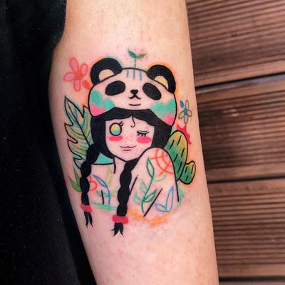 Tattoo by Si Si Love Love #SiSiLoveLove #SiSi #ladyheadtattoo #ladyhead #portrait #lady #cute #leaves #nature #cacti #flower #floral #butterfly #panda #newschool