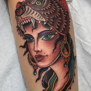Tattoo by Matt Cannon #MattCannon #ladyheadtattoo #ladyhead #portrait #lady #bear #nature #animal #pearls #color #traditional #neotraditional #jewelry