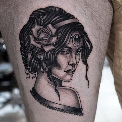 Tattoo by Hunter Schuon #HunterSchuon #ladyheadtattoo #ladyhead #portrait #lady #blackandgrey #neotraditional #rose #flower #floral #gem #jewel #pearls #leaves #beautiful