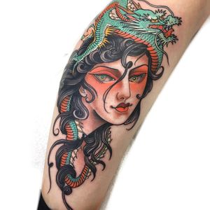 Tattoo by Claudia De Sabe #ClaudiadeSabe #ladyheadtattoo #ladyhead #portrait #lady #neotraditional #Japanese #mashup #dragon #mythicalcreature #color