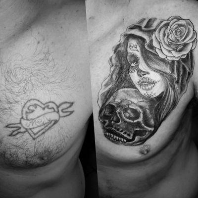 Day of the dead girl coverup from today #tattoodesign #tattoos #tattoomafia #alexdavidsontattoos #design #instagood #instashare #instart #instaink #fkirons #xion #fkironsxion #tattoopen #tattoo #tat #tattooshop #art #shading #eliteneedles #eternalink #dynamicink #dayofthedead #sugarskull #coverup #girltattoo