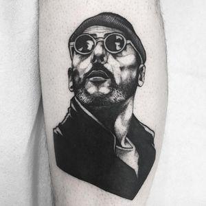 Tattoo by fjfernandez #fjfernandez #famousportraittattoo #famousportrait #portraittattoo #portrait #famous #JeanReno #TheProfessional #movie #movietattoo #actor #filmstill